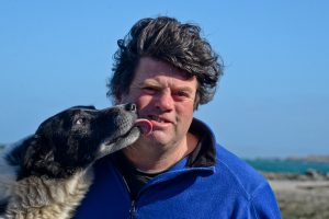 Paddy Lavelle and his dog, Inishbofin, Co Galway, Ireland.