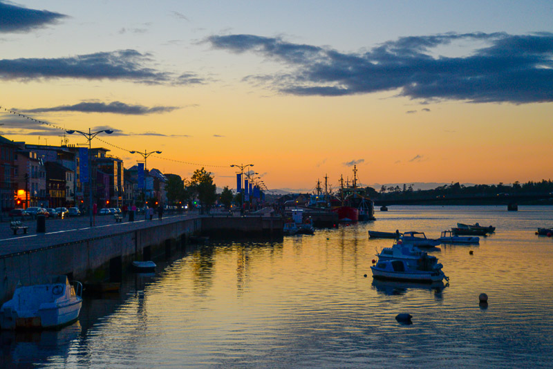 Sun setting over Wexford Harbour, Wexford, County Wexford, Ireland