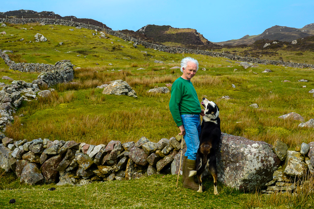 Mairtin Moran with his dog Finn, Clare Island, Co Mayo, Ireland