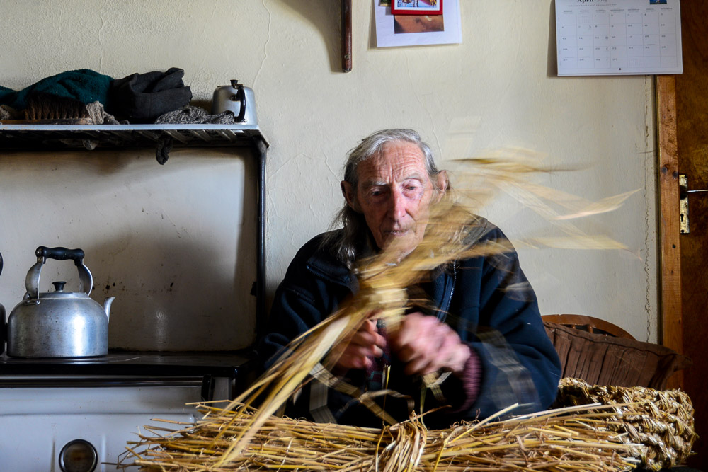 Berni Winters, organic farmer and basket maker, Clare Island, Co Mayo, Ireland