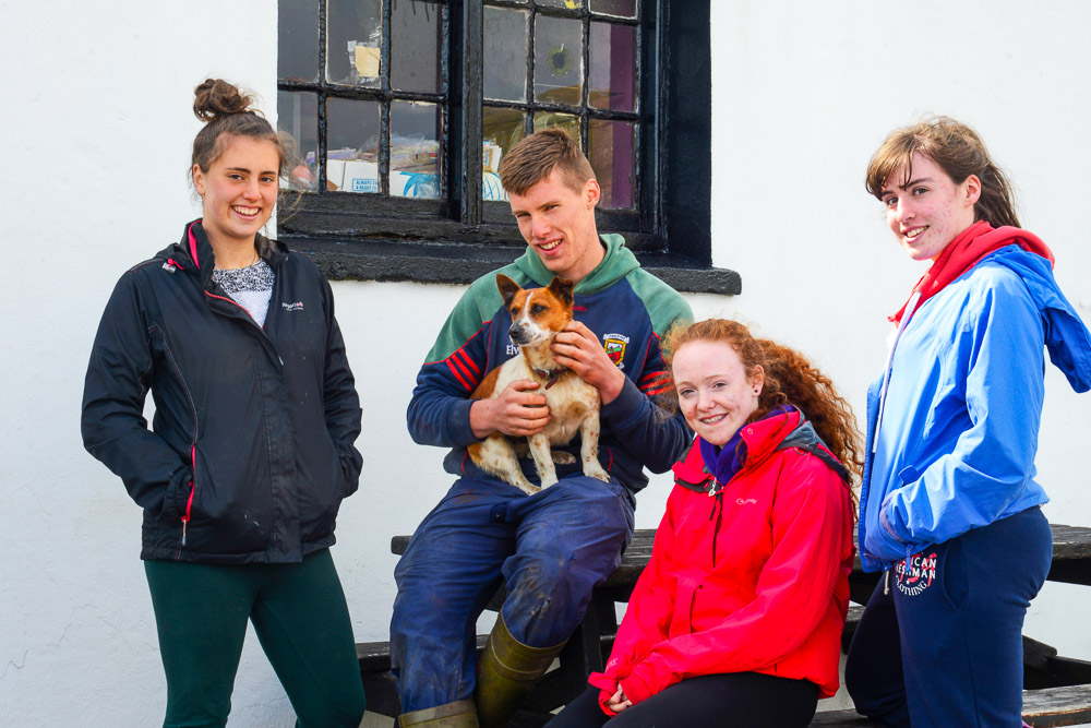 L-R: Pearce O'Mally, Sarah O'Mally, Racial Reed, Anna Duffy and the dog, Toffey, Clare Island, Co Mayo, Ireland