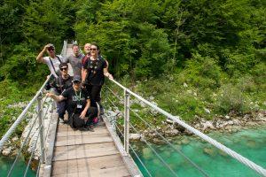 Suspension bridge over Soca River near Kolovrat, North West Slovenia. &copy John Ironside
