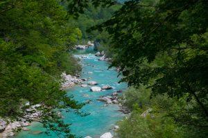 Soca River near Kobarid, Triglar National Park,North West . Slovenia. &copy John Ironside