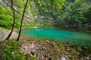 Karst Wild Lake, near Idrijia, Slovenia. &copy John Ironside