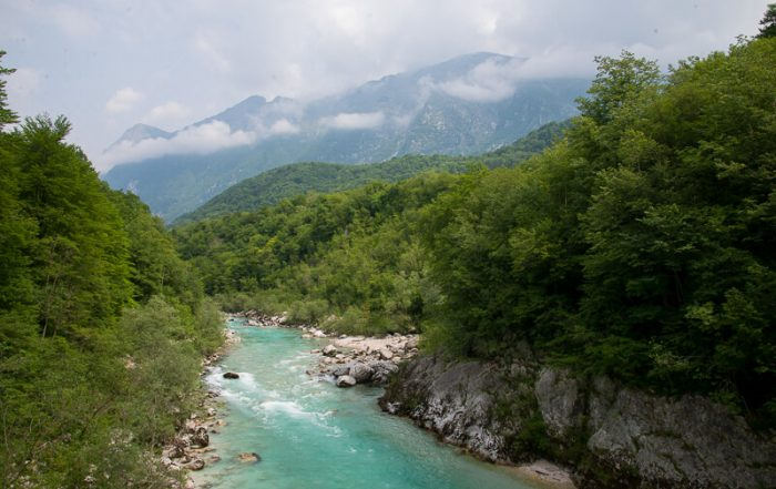 Soca River near Kobarid, Triglar National Park,North West Slovenia. &copt John Ironside