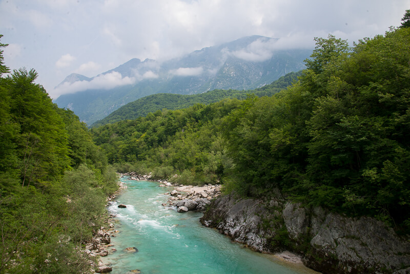 Soca River near Kobarid, Triglar National Park,North West Slovenia. &copt John Ironside