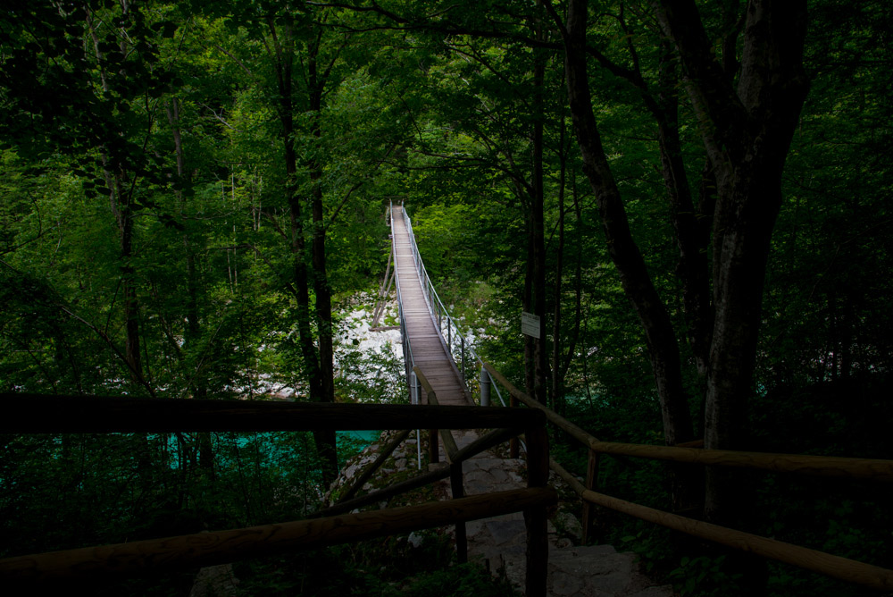 Suspension bridge ov Soca River near Kolovrat, North West Slovenia. &copy John Ironside