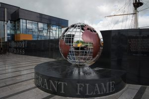 Emigrant Flame, lit by a flame brought to New Ross from Presedent John F Kennedy's grave in USA, Dunbrody Famine Ship, New Ross, County